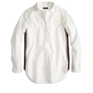 J. Crew Sequin Side-Stripe Shirt in White
